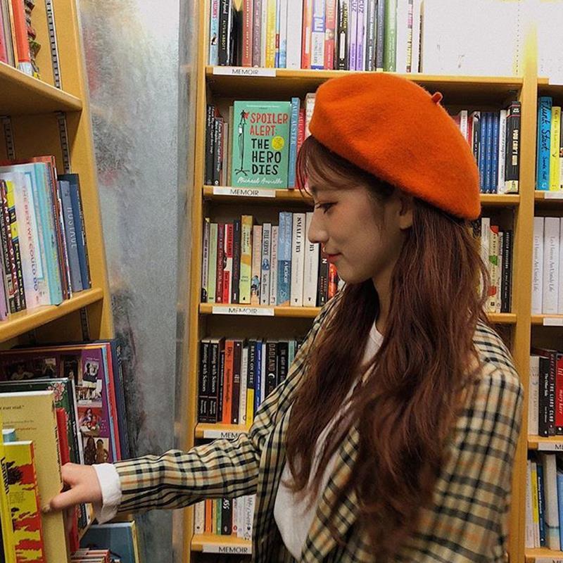 【澳洲羊毛】橘色貝雷帽女秋冬日系文藝貝類帽ins韓國同款蓓蕾帽1入