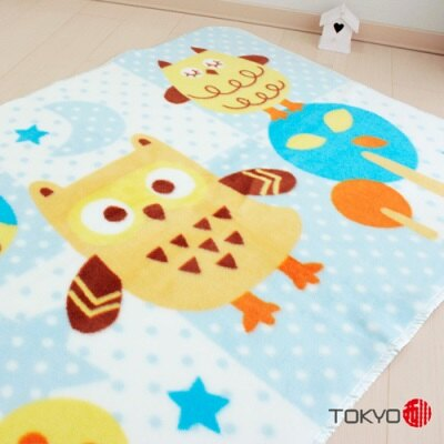 ※TOKYO西川 貓頭鷹童毯 藍
