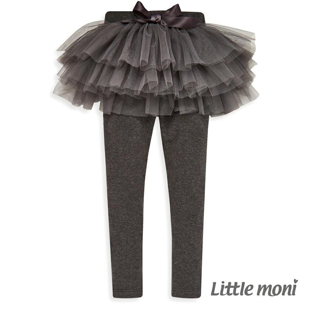 Little moni 假兩件網紗蓬裙褲-灰色(好窩生活節) 0