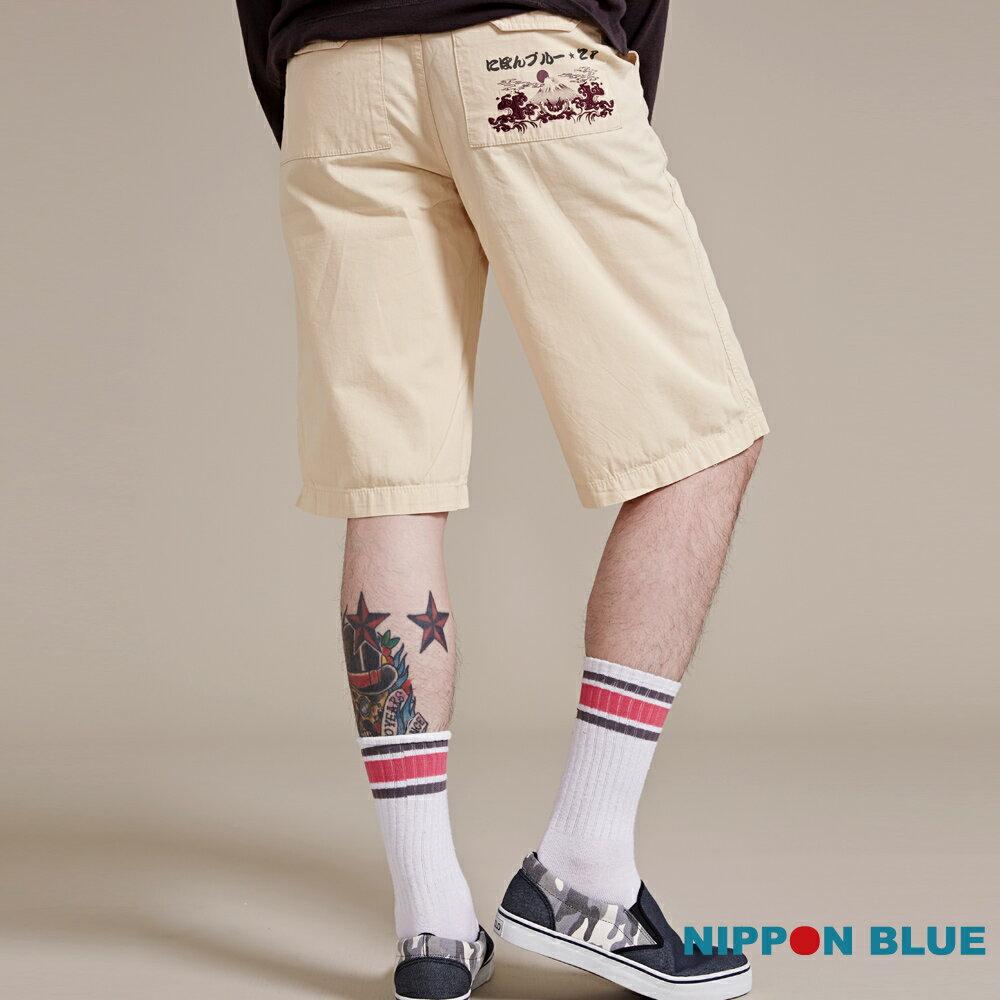 【限時5折】日本藍印繡花意象短褲(鵝黃) - BLUE WAY  NIPPON BLUE日本藍 - 限時優惠好康折扣