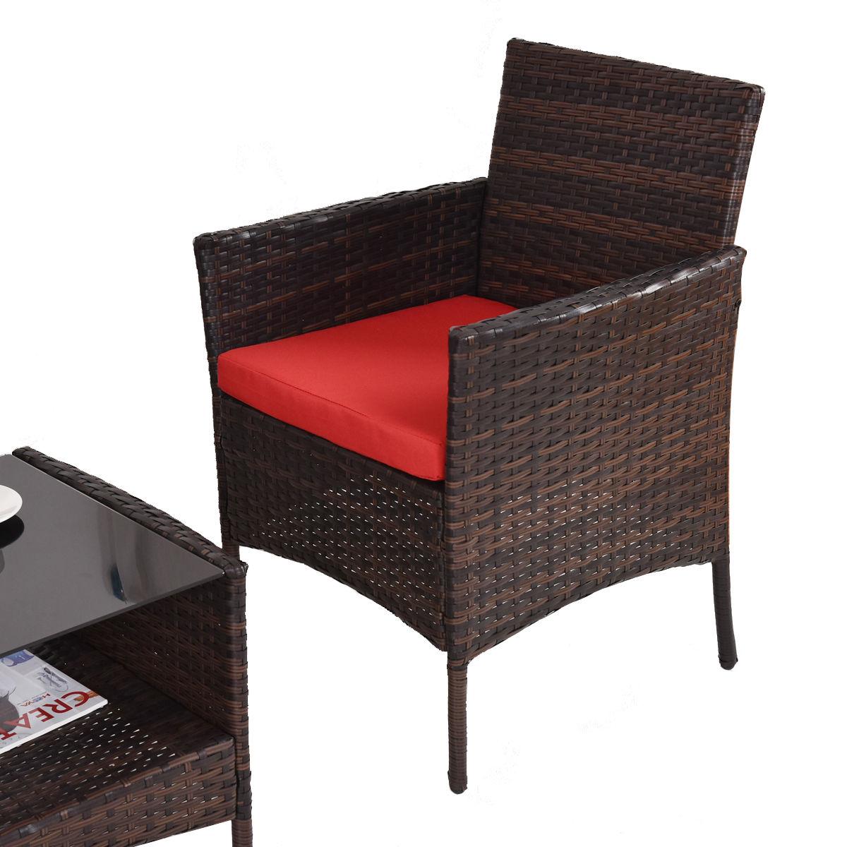 Costway Costway 4 Pcs Outdoor Patio Rattan Furniture Set Table