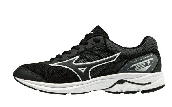 運動世界:MIZUNOWAVERIDER21JR童鞋大童慢跑透氣網布黑【運動世界】K1GC182510