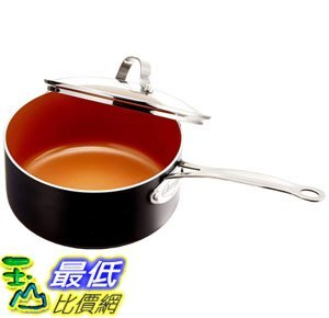 [8美國直購] 不沾鍋 GOTHAM STEEL 3-Quarts (2.8 liters capacity) Saucepan with Lid Included
