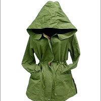 風衣外套推薦到SISI【C3045】帥氣獨特 配色雙領抽繩連帽風衣外套 縮腰反折袖側拉鍊軍裝大衣就在SiSi Girl推薦風衣外套