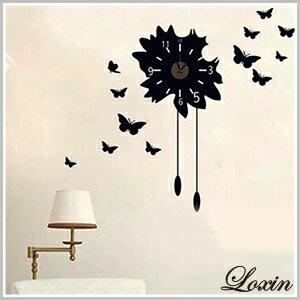 時鐘壁貼『Loxin蝴蝶壁貼時鐘』掛鐘