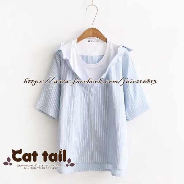 《貓尾巴》TS-0736學院風條紋短袖襯衫(森林系日系棉麻文青清新)