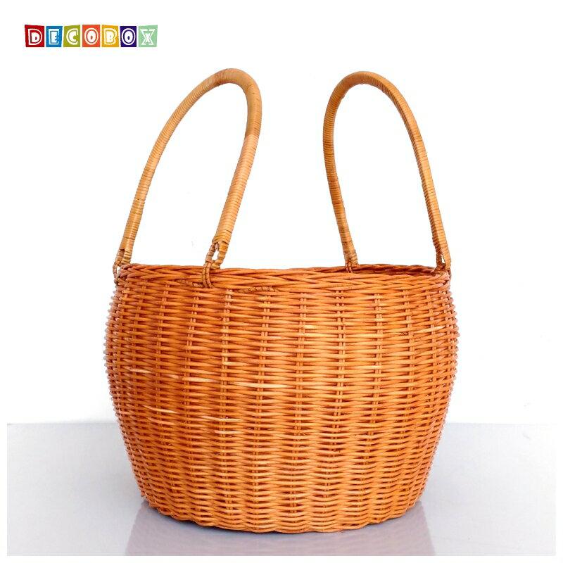 DecoBox鄉村風圓筒大藤籃 (宴王,野餐, 洗衣藍,收納籃)