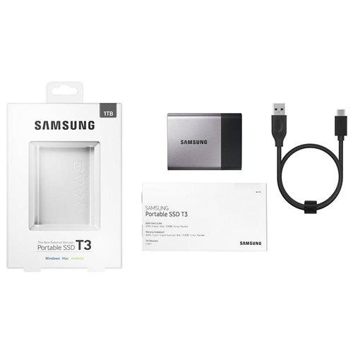 """Samsung T3 Portable 1TB SSD 1.0TB USB 3.1 External Solid State Drive MU-PT1T0B + 2.5"""" SSD case 3"""