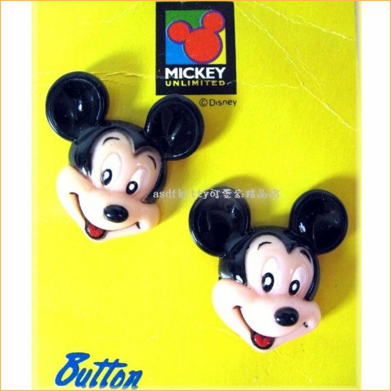 asdfkitty可愛家☆米奇頭型造型鈕扣2入-香港正版商品