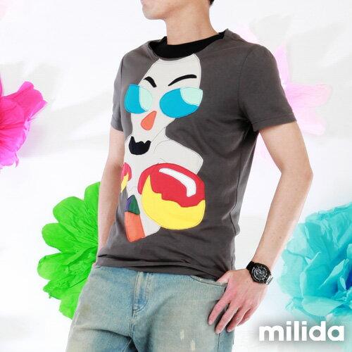 【Milida,全店七折免運】男生款-舒適圓領拼貼T恤 6