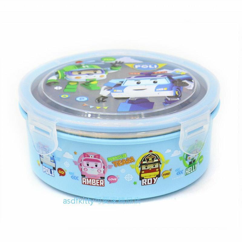 asdfkitty可愛家☆POLI救援小英雄 波力藍色防燙304不鏽鋼圓型便當盒630ML-樂扣型-保鮮盒-韓國製