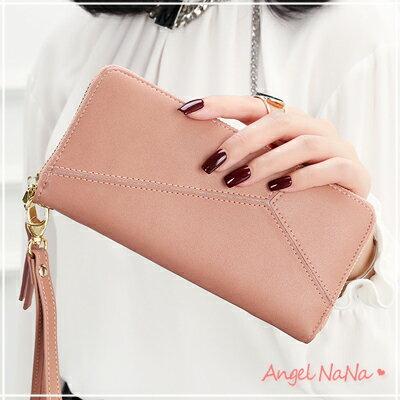 AngelNaNa:拼接皮夾-韓版高質感純色幾何拼接女長夾手拿包-附手腕帶AngelNaNa【MA0216】