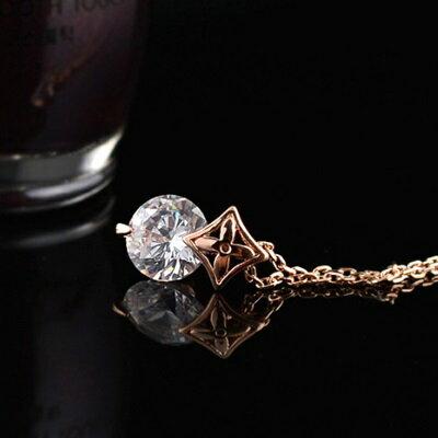 ~玫瑰金項鍊 鑲鑽純銀吊墜~ 精美氣質情人節生日 女飾品73dw174~ ~~米蘭 ~