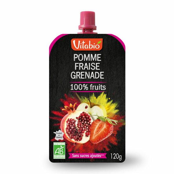法國 倍優 Vitabio 有機優鮮果PLUS-蘋果、草莓、石榴 ( 有機果泥 即食包 隨身包 ) 12m+