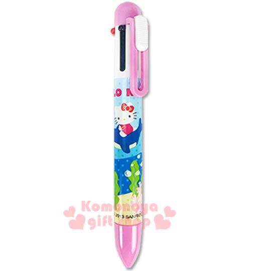 〔小禮堂〕Hello Kitty 多色原子筆/自動鉛筆《5色1鉛筆.藍.海洋.泡泡》