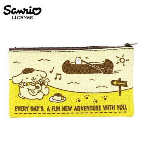 【日本正版】布丁狗 Pom Pom Purin 帆布 扁筆袋 M號 鉛筆盒 筆袋 收納包 三麗鷗 Sanrio - 443818