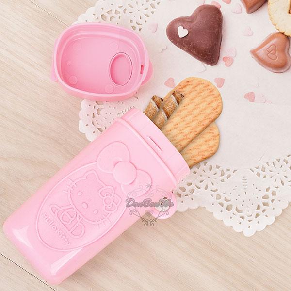 KITTY塑膠保鮮盒餅乾收納盒側坐小熊粉575423海渡