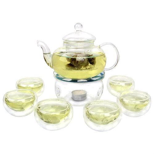 Kendal 27 oz glass filtering tea maker teapot with a warmer and 6 tea cups CJ-800ml bbbd91f4ae67f813bbdf75ce6c047652