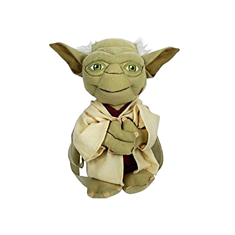 "Star Wars ""Yoda Softie"" Plush Backpack Kids Bag with Zipper Pouch 0"