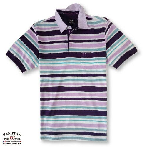 【FANTINO】男裝 65支雙絲光棉彩條POLO衫 431323 2