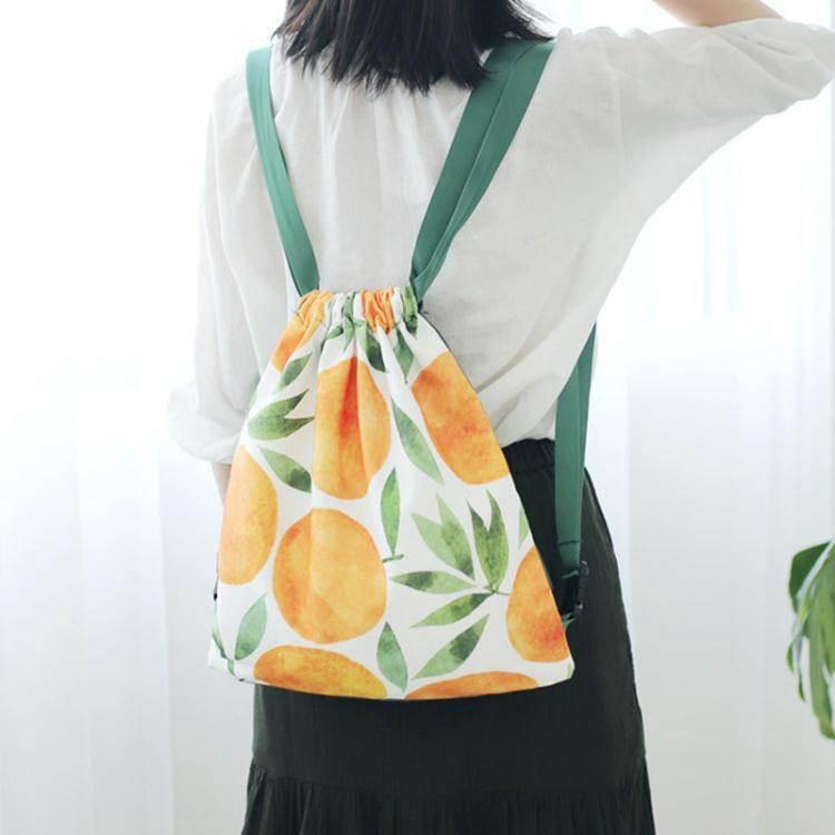束口包花束花邊森系可愛後背背包印花帆布束口水果書包輕便簡易棉布口袋