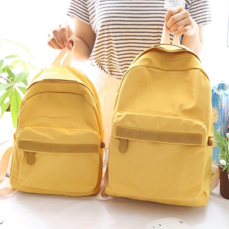 後背包NR純色小清新帆布後背包女2020新款背包女後背高中生書包大小款