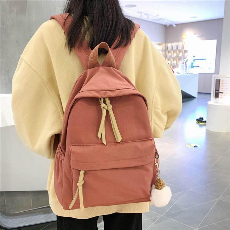 後背包ins韓版書包女初中高中學生簡約百搭大背包森系帆布少女後背包潮