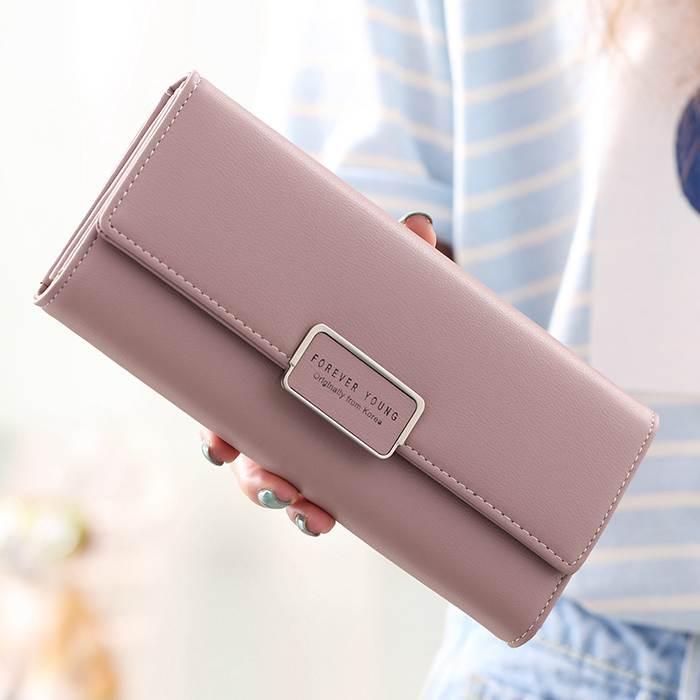 長錢夾2020韓版女士錢夾原創簡約ins學生時尚日系手拿素色長款錢包