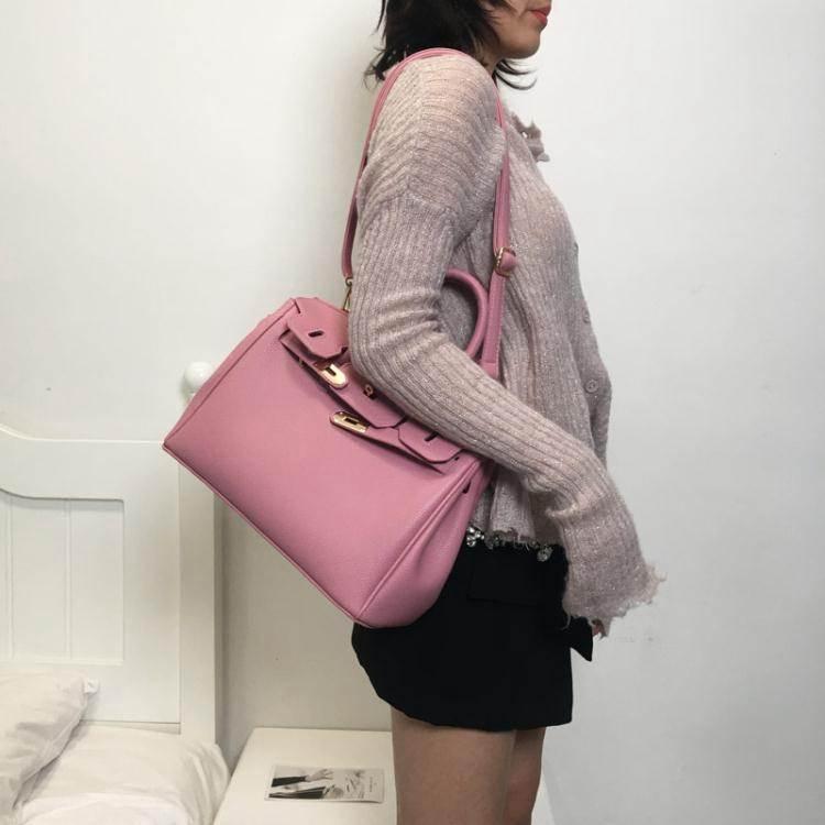 凱莉包包包女2020荔枝紋鉑金包時尚手提包紅色新娘包側背斜背凱莉包