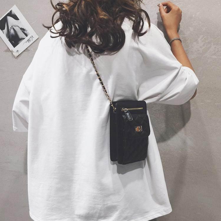 手機斜背包上新小包包女2020新款潮時尚百搭側背包洋氣菱格錬條斜背手機包女