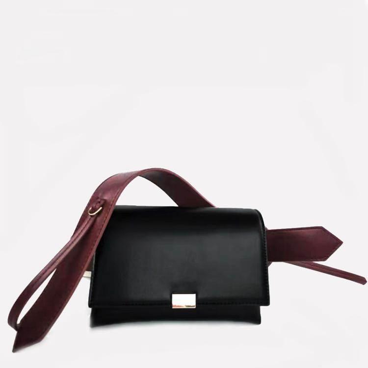 信封包2020新款包包女黑色極簡風迷你信封包小眾設計時尚寬肩帶斜背包
