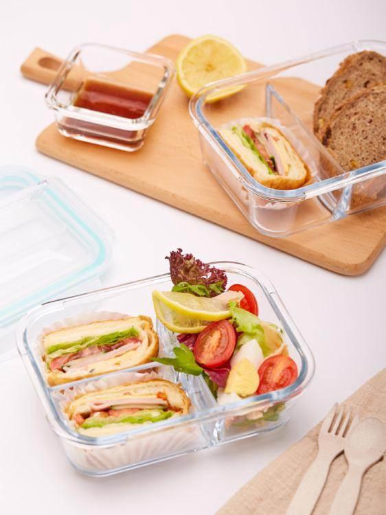 上班族玻璃飯盒女分隔型便當盒學生保鮮盒餐盒帶蓋微波爐加熱飯盒