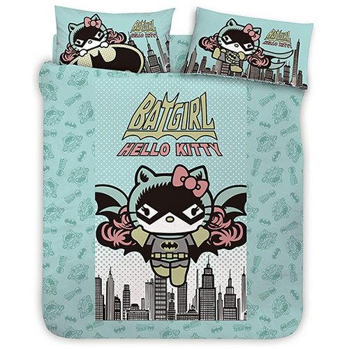 【享夢城堡】HELLO KITTY 蝙蝠女系列-雙人床包涼被組(綠)