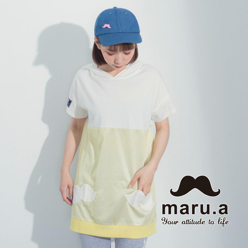 【maru.a】街頭風拼接長版T-shirt 7321317 4