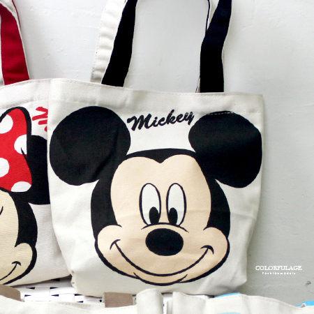 手提包 正版迪士尼Disney系列帆布購物袋/便當袋 米老鼠/史迪奇/維尼 柒彩年代【NS2】輕巧可水洗 - 限時優惠好康折扣