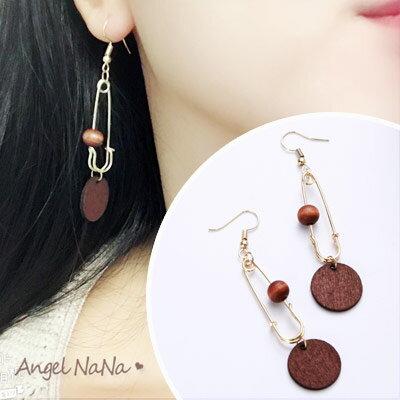 AngelNaNa:耳環《可改耳夾式》《可改S925銀針》原創別針原木珠耳鈎【RA0081】