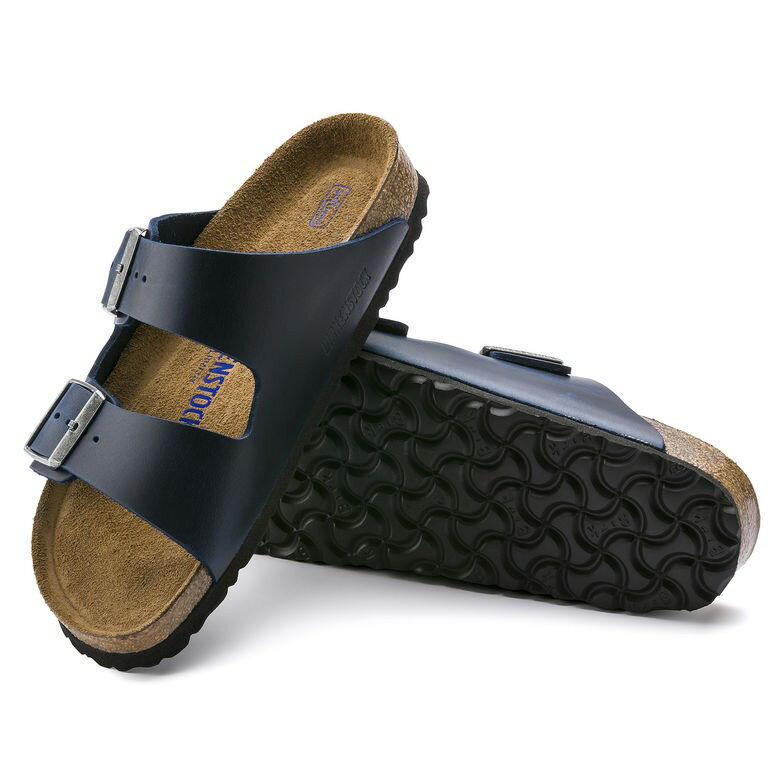 宜蘭勃肯 Birkenstock Arizona 亞利桑那 經典兩條拖鞋 (油感皮軟墊藍)