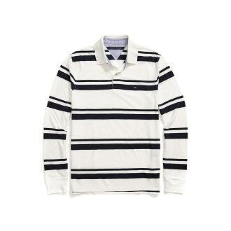 美國百分百【全新真品】Tommy Hilfiger Polo衫 TH 長袖 上衣 條紋 網眼 白色 M號 F612