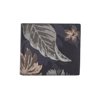 COACH F75296 男款黑色格子皮質短款對折錢包錢夾藍底印花