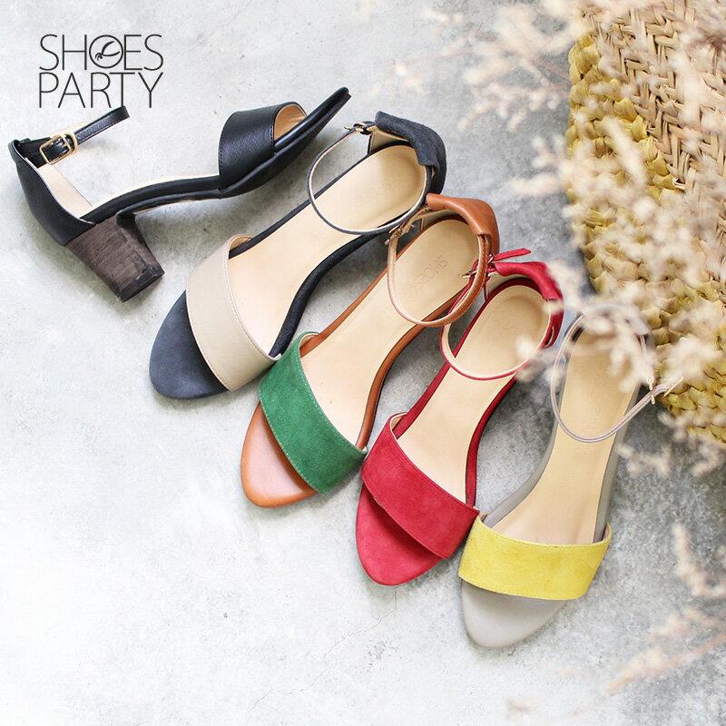 【S2-17613L】春夏必備簡約一字設計中跟涼鞋_Shoes Party 0