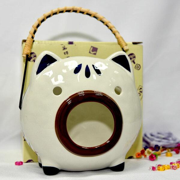 日式小豬蚊香薰香器陶器日本藥師窯可放蚊香薰香安全衛生美觀