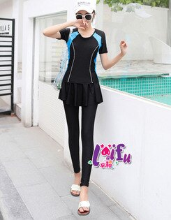 ★草魚妹★G277泳衣健康保守褲裙長褲款二件式泳衣游泳衣泳裝正品,售價1100元