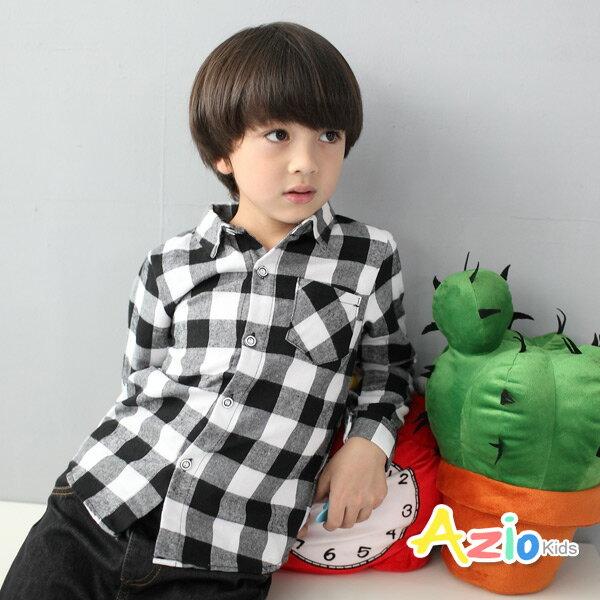 《Azio Kids 美國派 童裝》襯衫 格紋細線配色單口袋襯衫(黑)