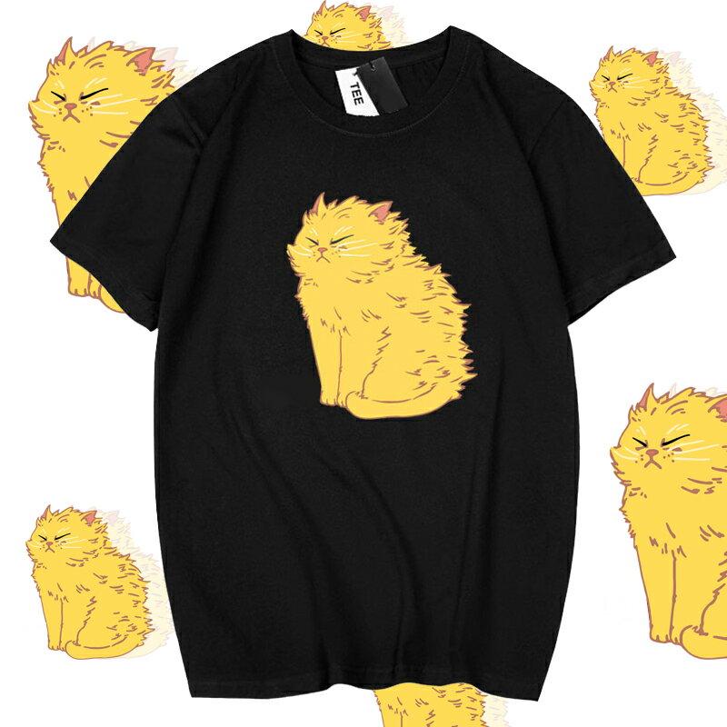 KUSO 搞笑 情侶裝 純棉短T MIT台灣製【YC686-12】萌寵-哇!風好大 吹風貓  動物萌寵 快速出貨 0