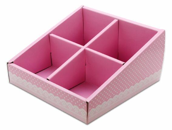 外帶盒、紙盒、包裝盒 4格 G14575-1(粉底白點花邊)5 pcs含透明盒、附內格