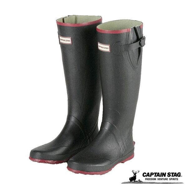 桃源戶外登山露營旅遊用品店:CAPTAINSTAG日本鹿牌橡膠戶外雨鞋『黑』UX-6雨靴
