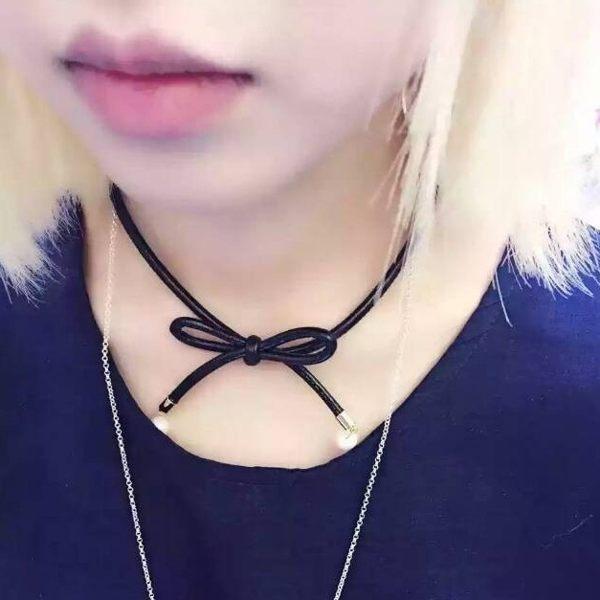 PS Mall  俏皮 皮質蝴蝶結頸帶 項圈 短款鎖骨項鍊 頸鍊~G1860~