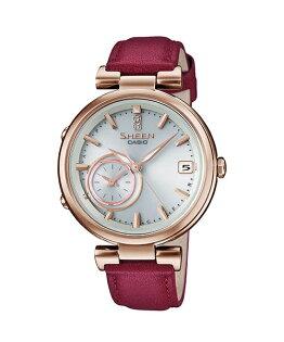 CASIOSHEENSHB-100CGL-7A玫瑰金*紅藍芽時尚腕錶白面35mm