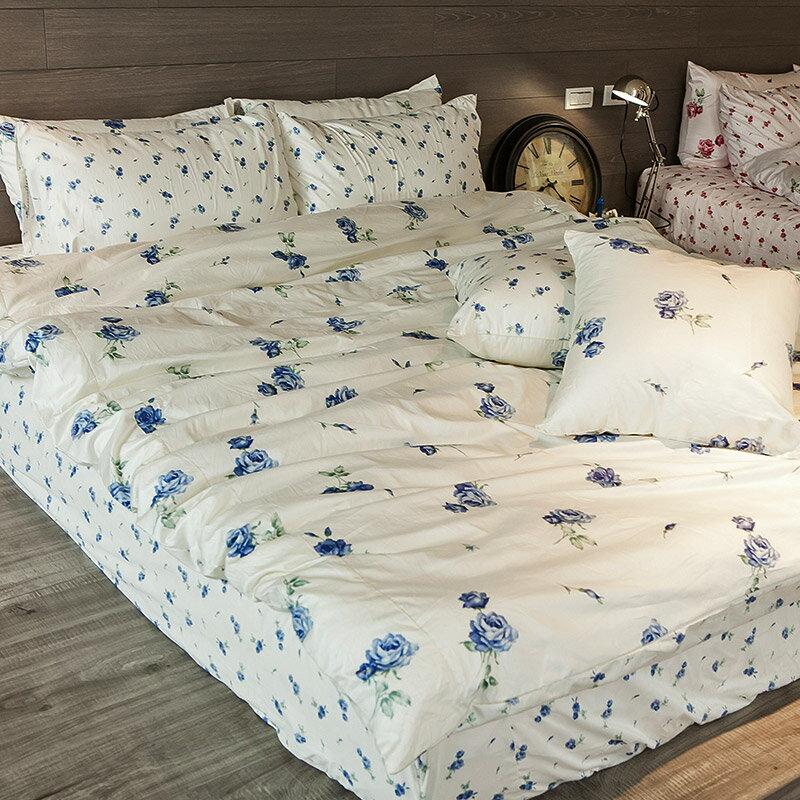 新品!床包  雙人~玫果雪酪~藍~含兩件枕套,100^%精梳棉,在巴黎遇見系列,浪漫碎花,
