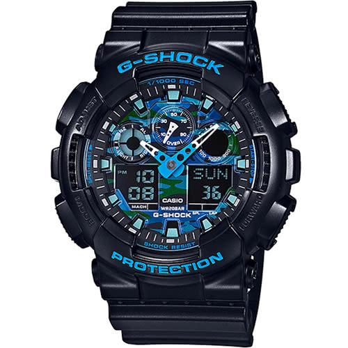 CASIO 卡西歐 G-SHOCK 強悍迷彩潮流雙顯錶-藍迷彩(限量) GA-100CB-1ADR 原廠公司貨 附保證卡 保固期一年 手錶 運動錶 電子錶